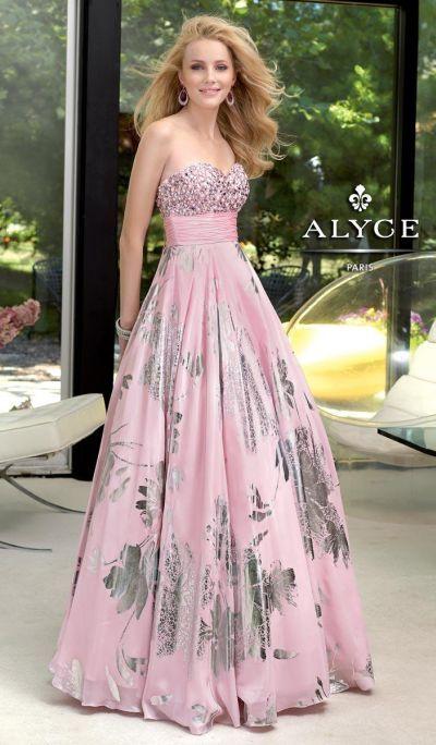 Alyce Paris 6055 Silver Foil Chiffon Evening Dress at frenchnovelty.com