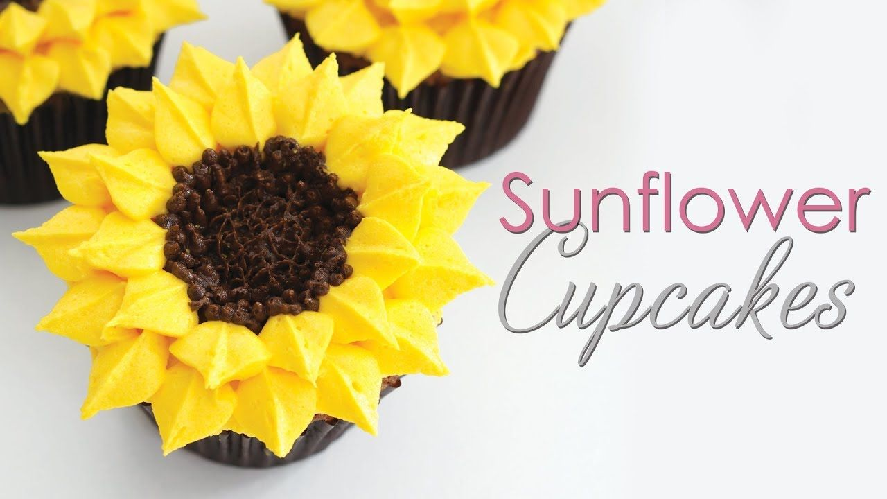 Sunflower Cupcakes - Buttercream Piping Technique Tutorial #sunflowercupcakes