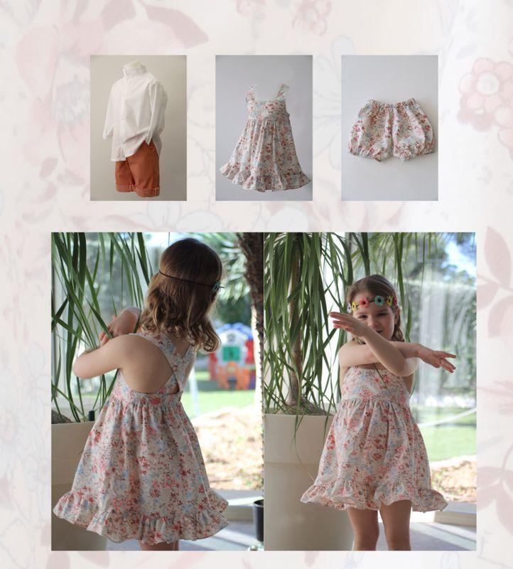 """Colección Kalahari"""" Verano 2014 Vestido niña con volante, para niño bermudas y camisa de manga larga o de punto y manga corta."""