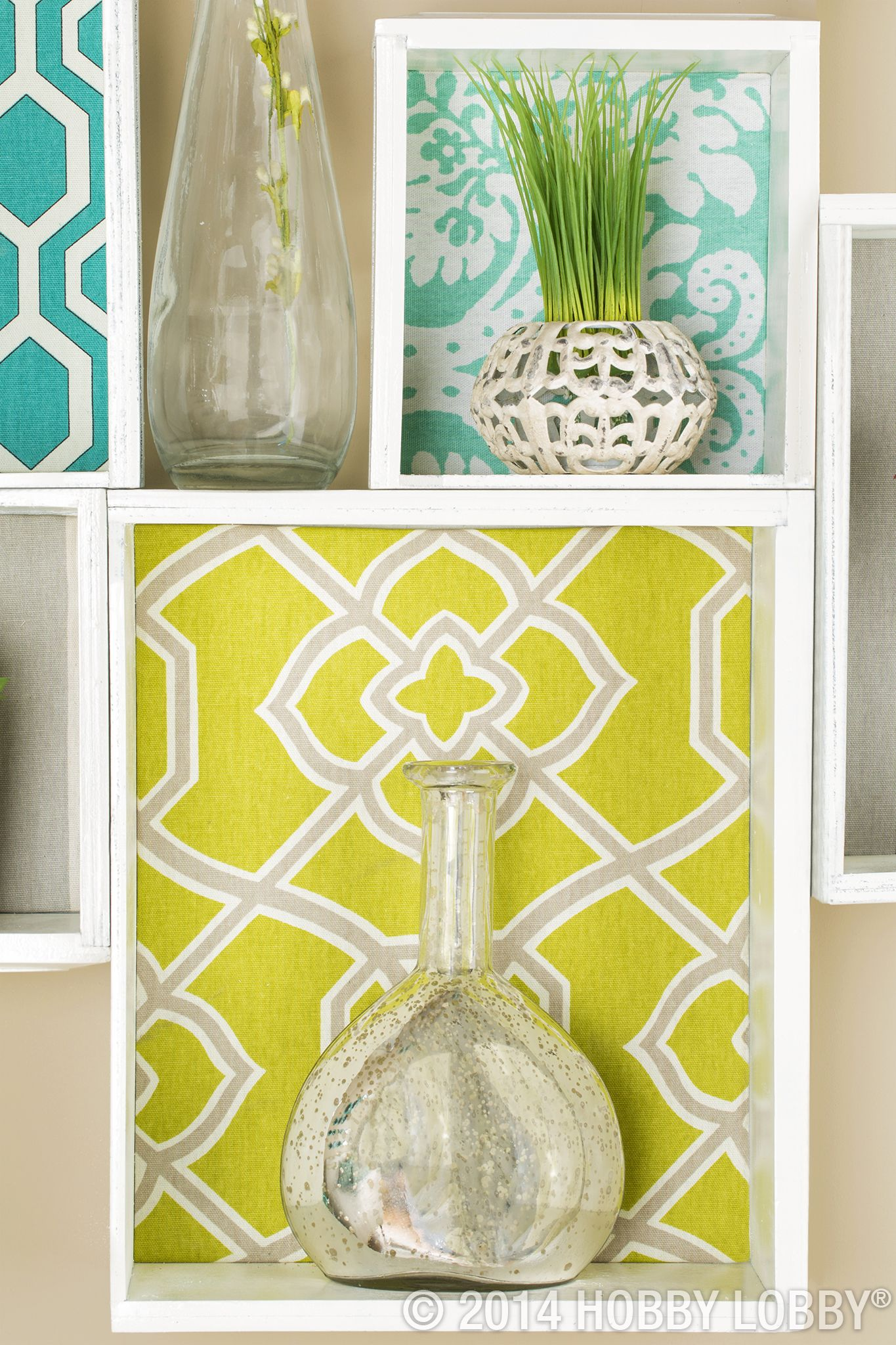 For fabric-friendly wall décor, line boxes with printed fabrics, and ...