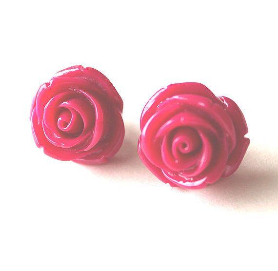 Dark Pink Rose Flower Resin Earrings Last One Etsy Pink Rose Flower Flower Studs Rose Flower