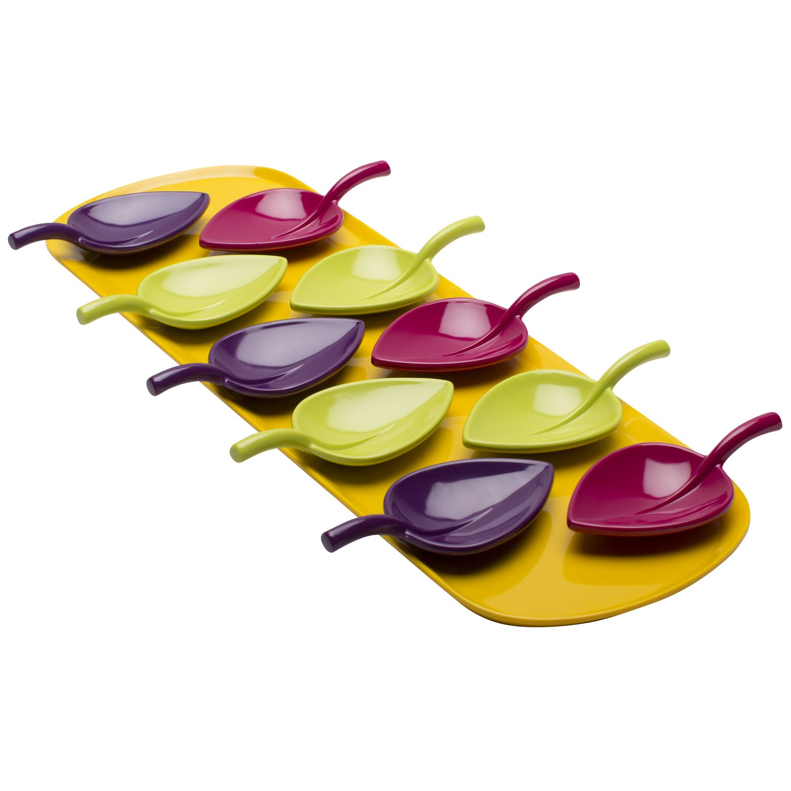Zak Design zak designs fulla leaf-shaped tasting spoon set with tray - flora