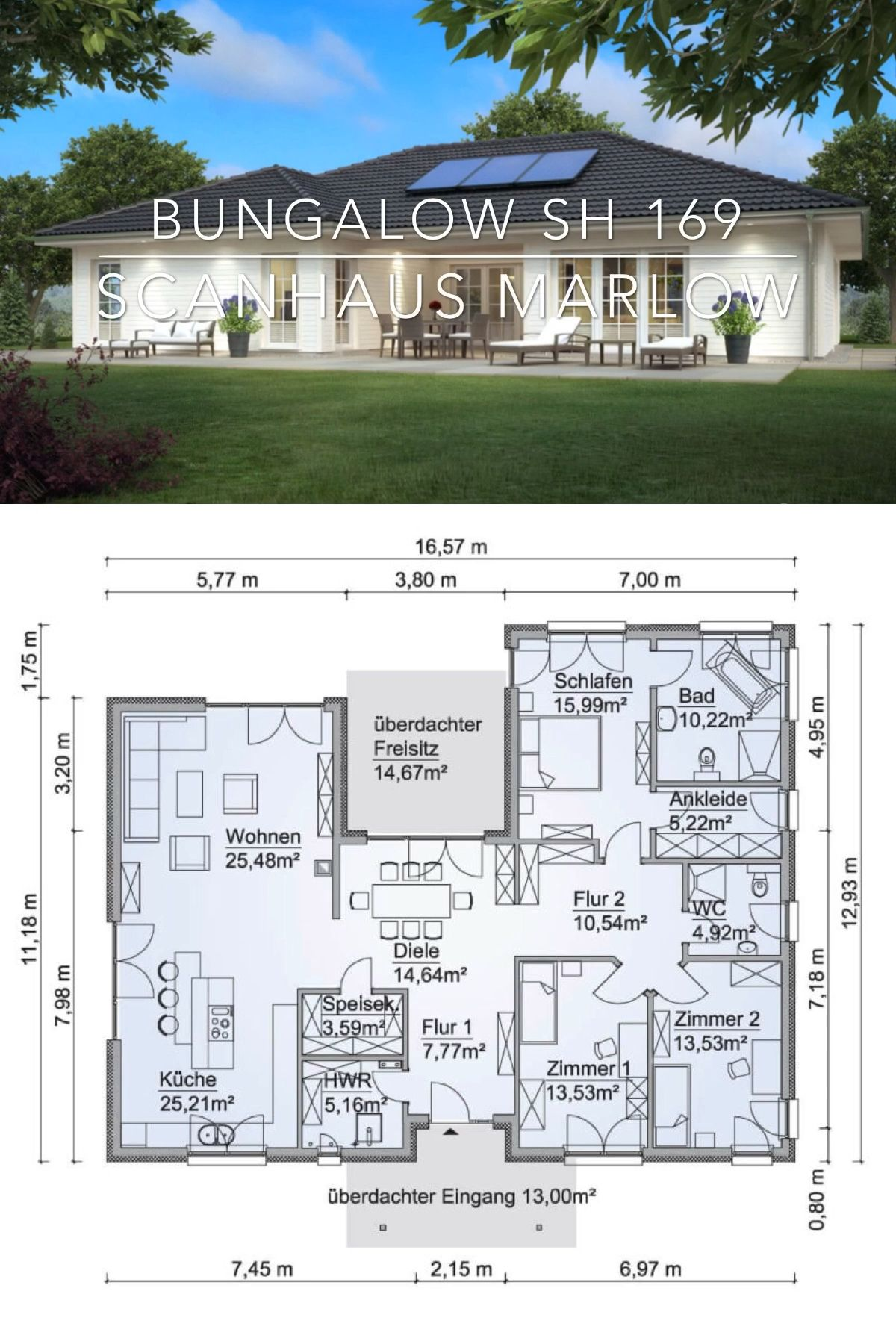 Photo of Modern Architecture House Plan & Interior Design – One Story Bungalow SH 169