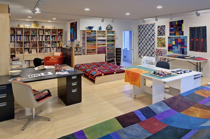 Longarm quilt studio quilters on pinterest quilting for Quilt room design ideas