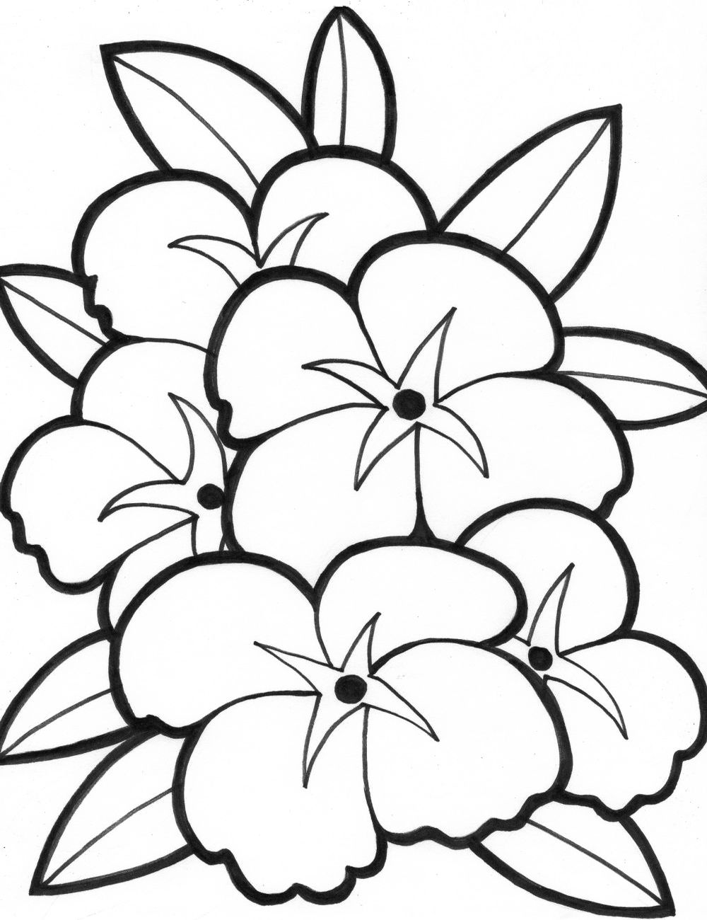 Simple Flower Coloring Pages (With images) Printable