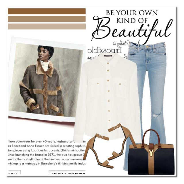 """""""lovelyhard"""" by namelif ❤ liked on Polyvore featuring Frame Denim, Yves Saint Laurent, Balmain, women's clothing, women, female, woman, misses and juniors"""