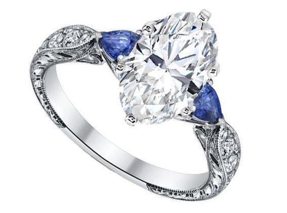 Oval diamond Engagement Ring Blue Sapphire Pear shape side stones