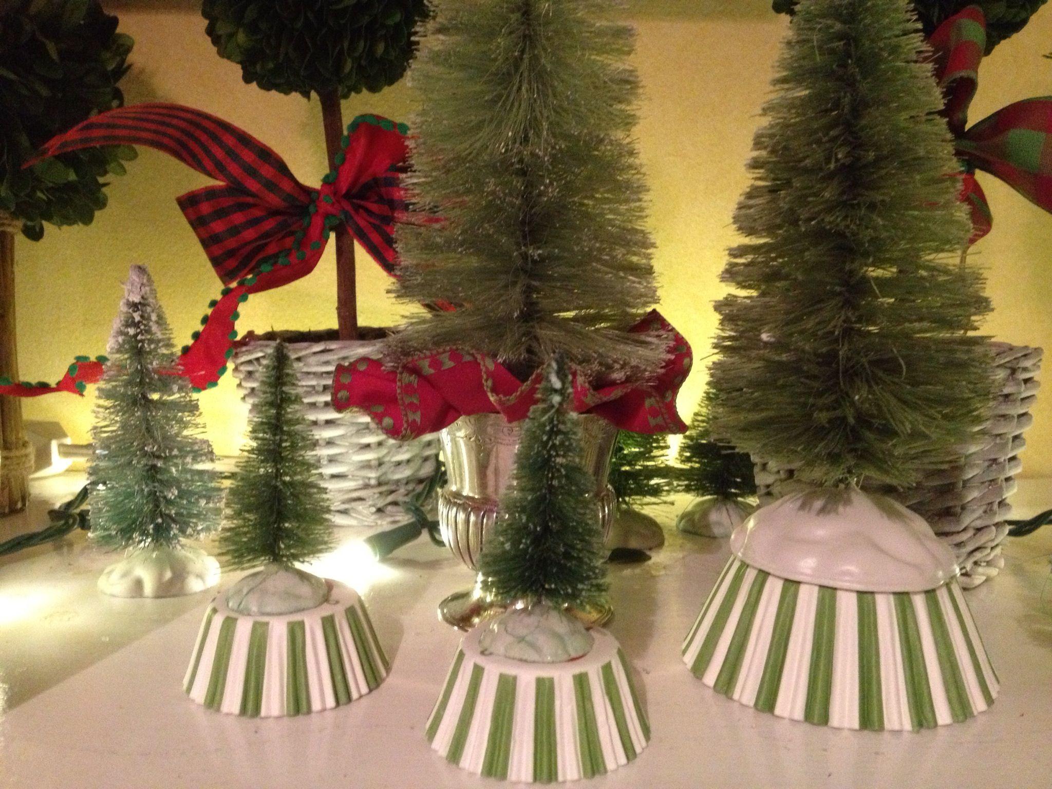"5/"" Set of 11 GLITTERY METALLIC Mini Sisal Bottle Brush Xmas Christmas Trees"