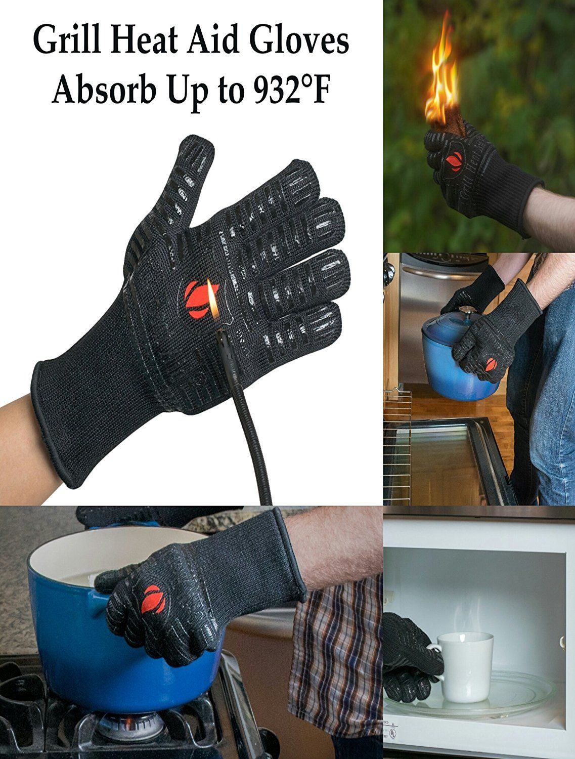 Extreme Heat Resistant Grill Gloves Premium Insulated Silicone Lined Aramid Fiber Mitts For Cooking Bbq Grilli Heat Resistant Gloves Heat Resistant Gloves