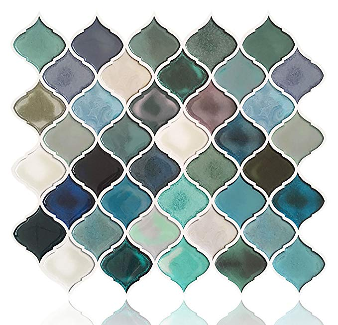 Fam Sticktiles Teal Arabesque Peel And Stick Tile For Kitchen