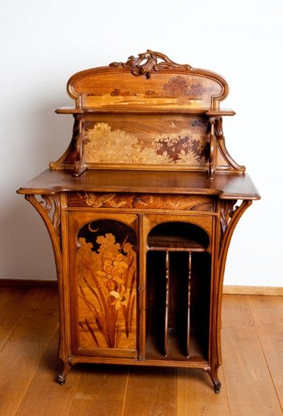 Emile Gallé (1846-1904), Nancy, Mahogany Music Cabinet with Fruit Wood Inlays.