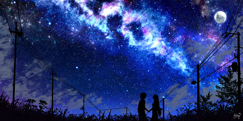 Anime Original Boy Girl Moon Shooting Star Starry Sky 5k Wallpaper Hdwallpaper Desktop In 2020 Anime Scenery Wallpaper Anime Scenery Scenery Wallpaper