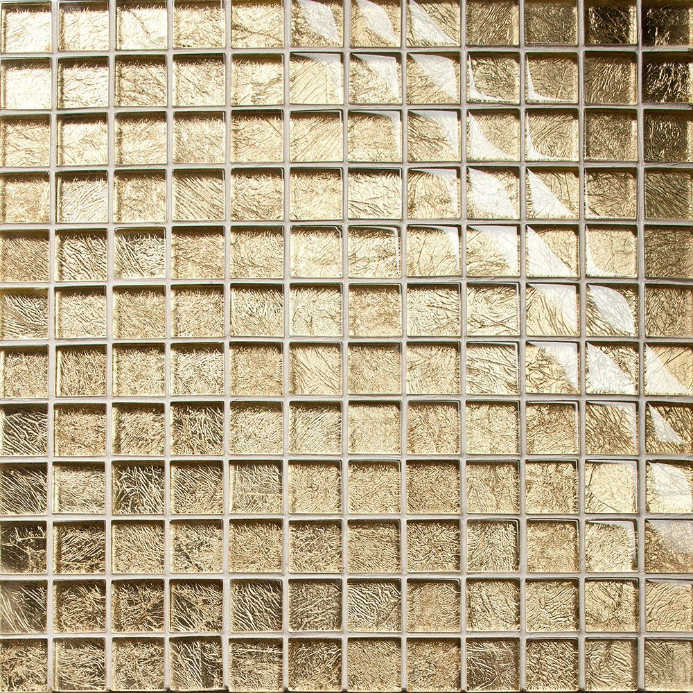 Golden Midas Mosaic Tile A Metallic Gold Gl Square On Mesh