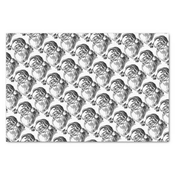 BLACK AND WHITE VINTAGE SANTA WRAPPING SUPPLIES TISSUE PAPER