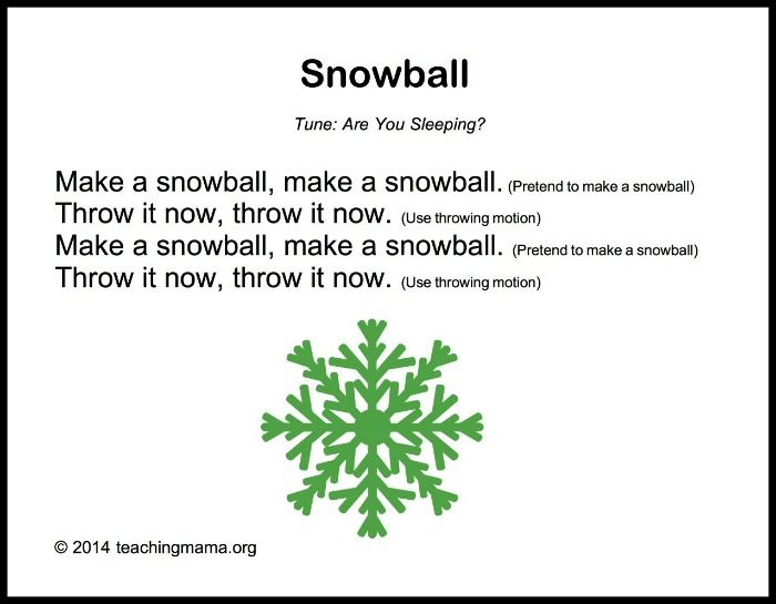 Winter Songs for Preschoolers | Snowball, On and Copy.