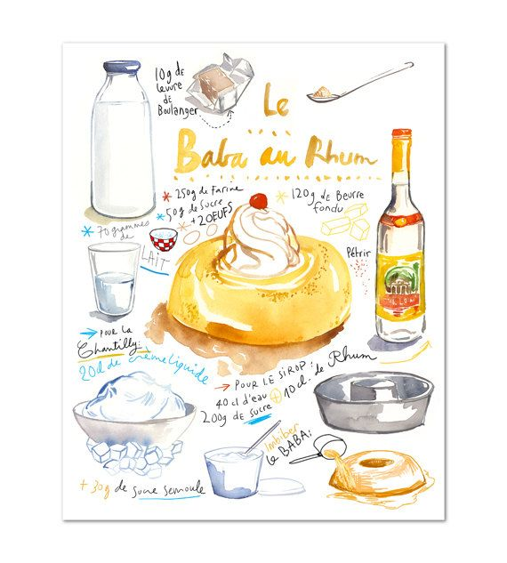 Ähnliche Artikel wie Französisch Kuchen Rezept Poster, Baba au Rhum Aquarell Illustration, Giclée-Druck, Küche Dekor, Lebensmittel-Kunst, Bäckerei Kunst, Orange Küche Wandkunst auf Etsy