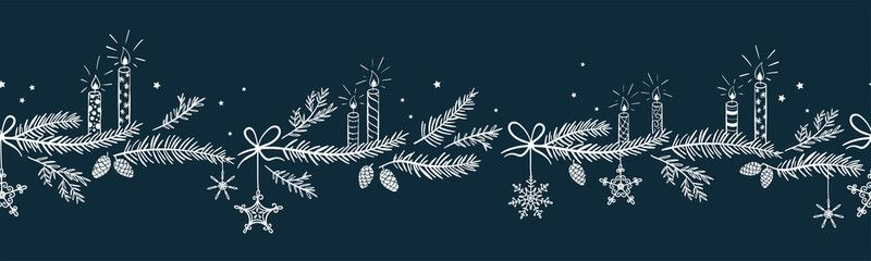 Cute Hand Drawn Horizontal Seamless Pattern With Candles Branches And Christmas Decoration X Mas Christmas Decorations Seamless Patterns Christmas Wallpaper