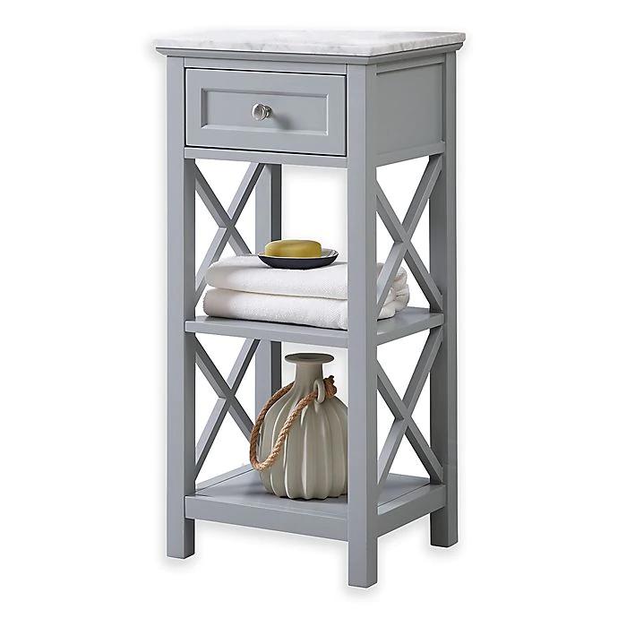 Carrara Marble 2 Shelf Floor Cabinet In Grey Bed Bath Beyond Flooring Cabinet Bed Bathroom Storage Cabinet