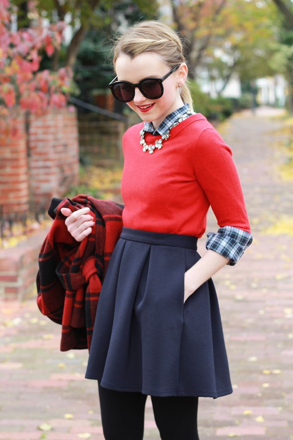 6723bfbacc8 Poor Little It Girl - Red Buffalo Check Coat