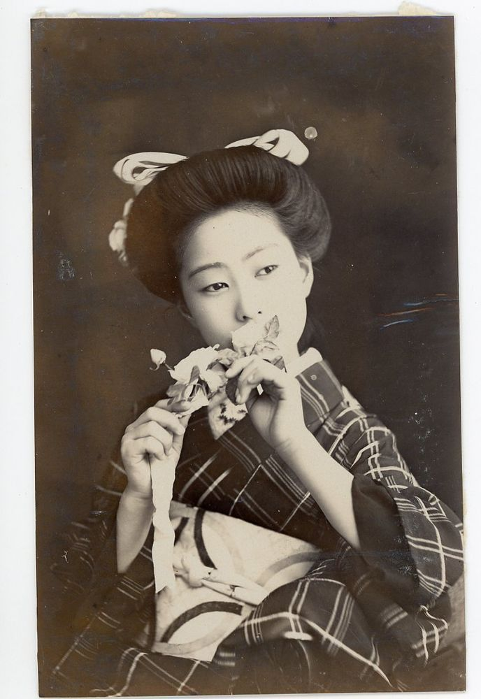 Japanese Vintage  Year Old Postcard Sized Real Photo Kimono