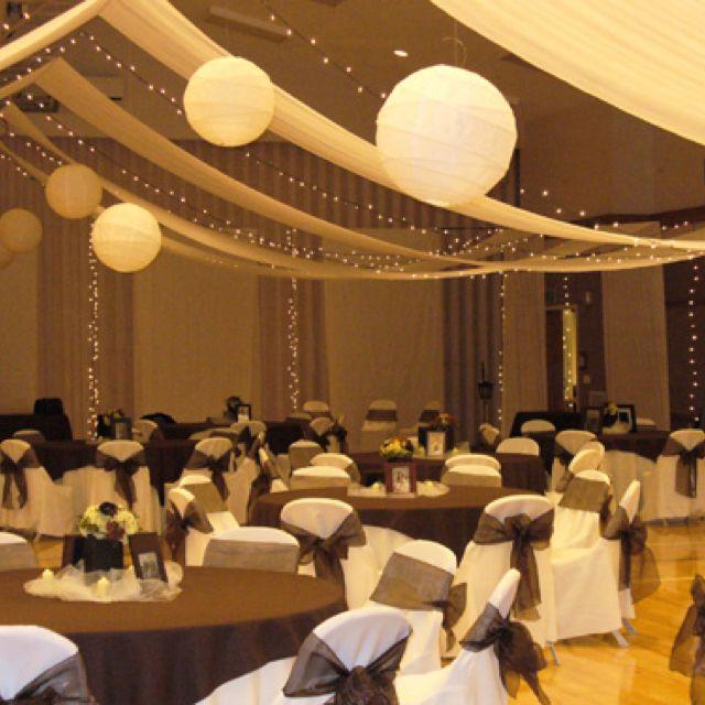 Good Idea For The Ceiling Wedding Reception Hall Wedding Hall Decorations Hall Decor