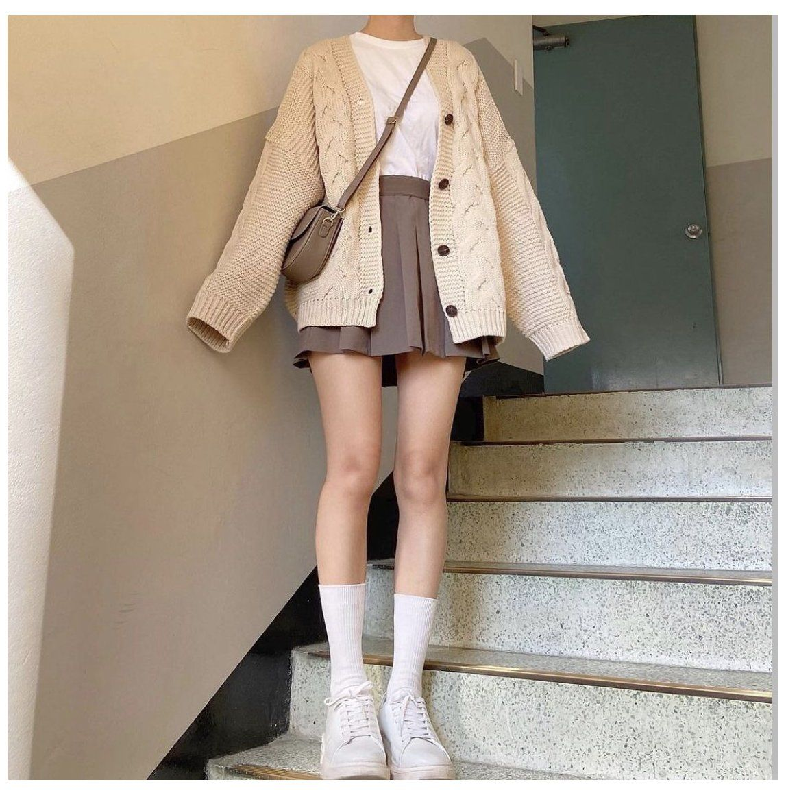 brown cardigan sweater outfit