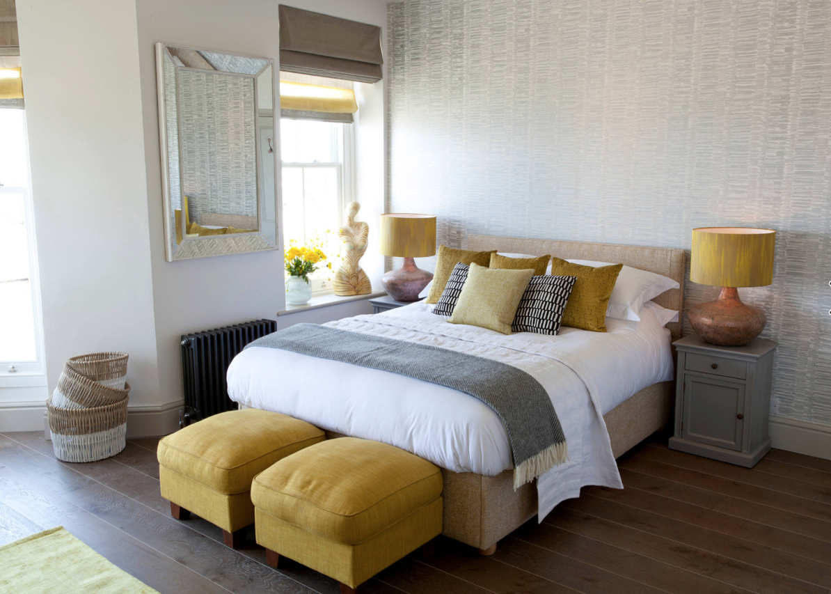Gold and gray bedroom with brass accents. Camille Interiors ...