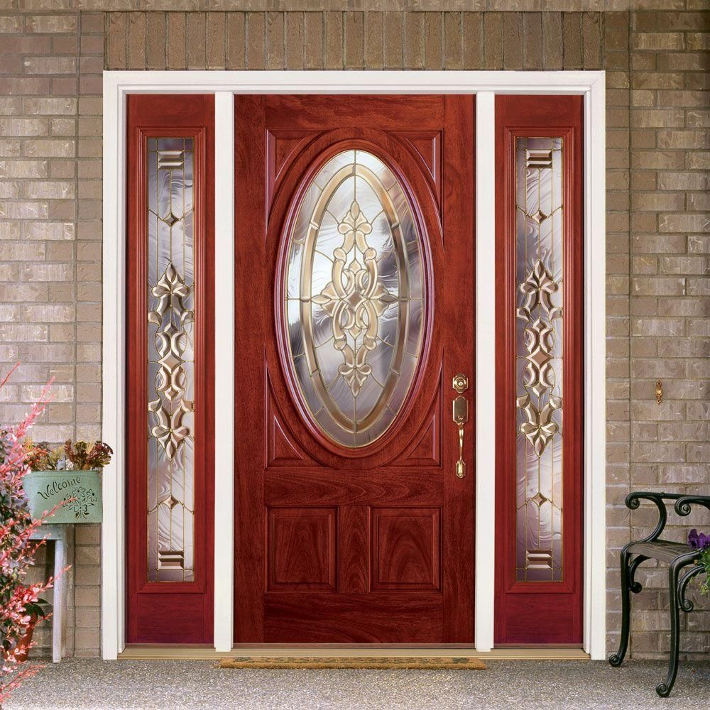 Feather River Doors 63 5 In X81 625in Silverdale Brass 3 4 Oval Lt Stained Cherry Mahogany Rt Hd Fiberglas In 2020 Fiberglass Entry Doors Stained Glass Door Front Door
