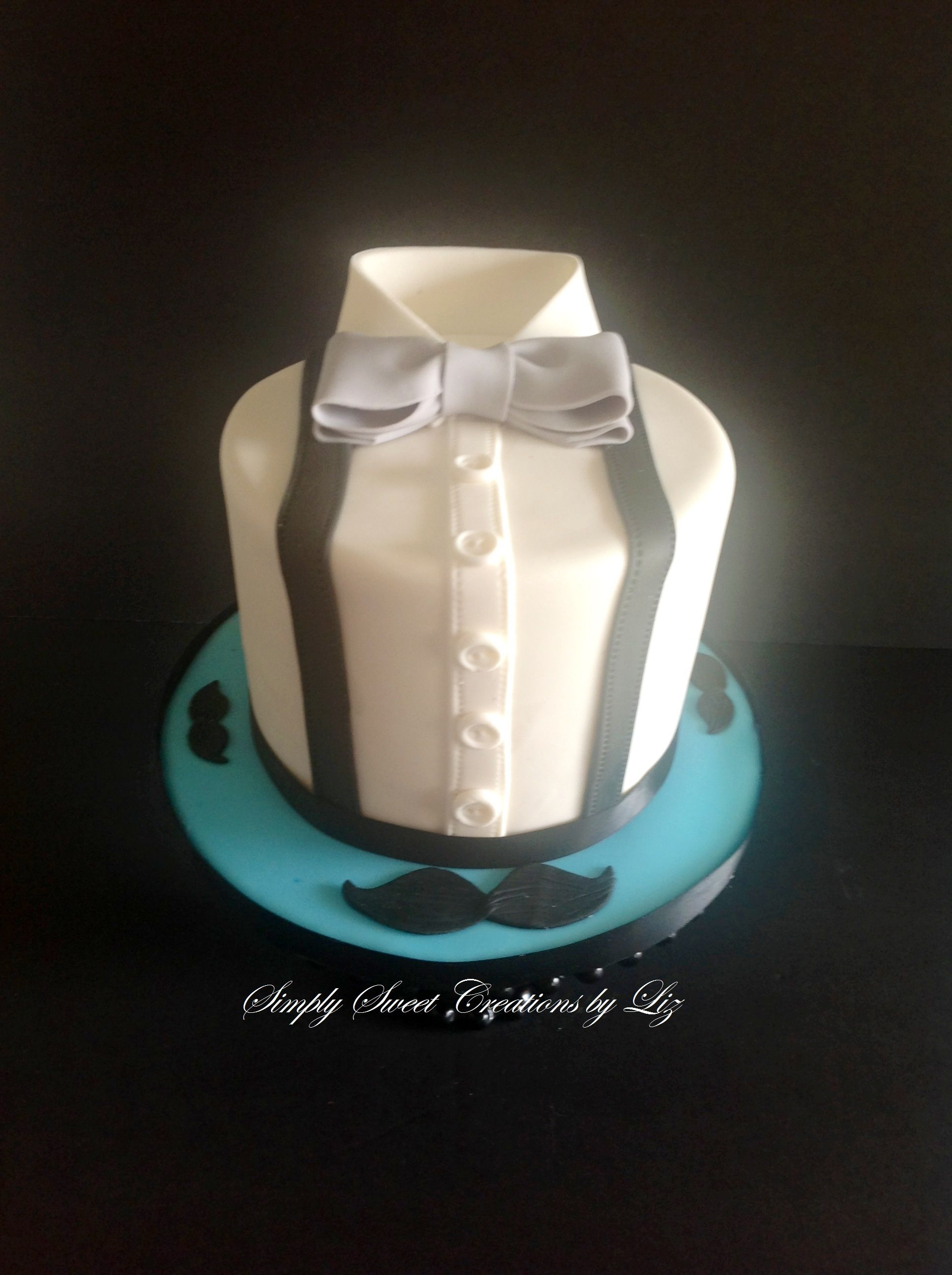 Bow Tie And Mustache Cake Art Birthday Cake