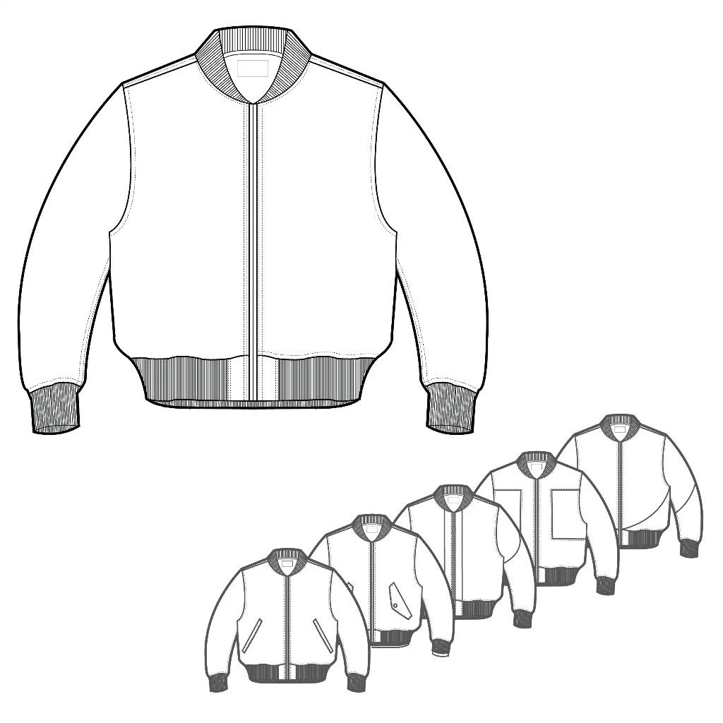 Technical Drawing 5 Styles Techpackbuilder Com Product Mens Bomber Style Jacket Drawing Clothes Technical Drawing Fashion Drawing [ 1024 x 1024 Pixel ]