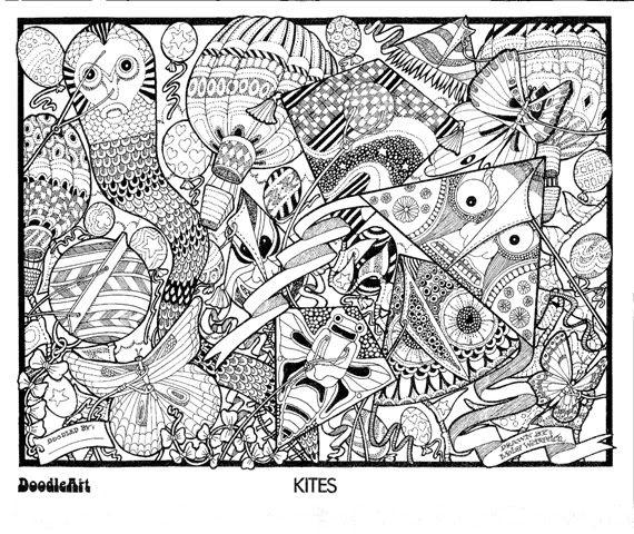 Kites Doodle Art Coloring Poster   Colouring   Pinterest   Doodle ...