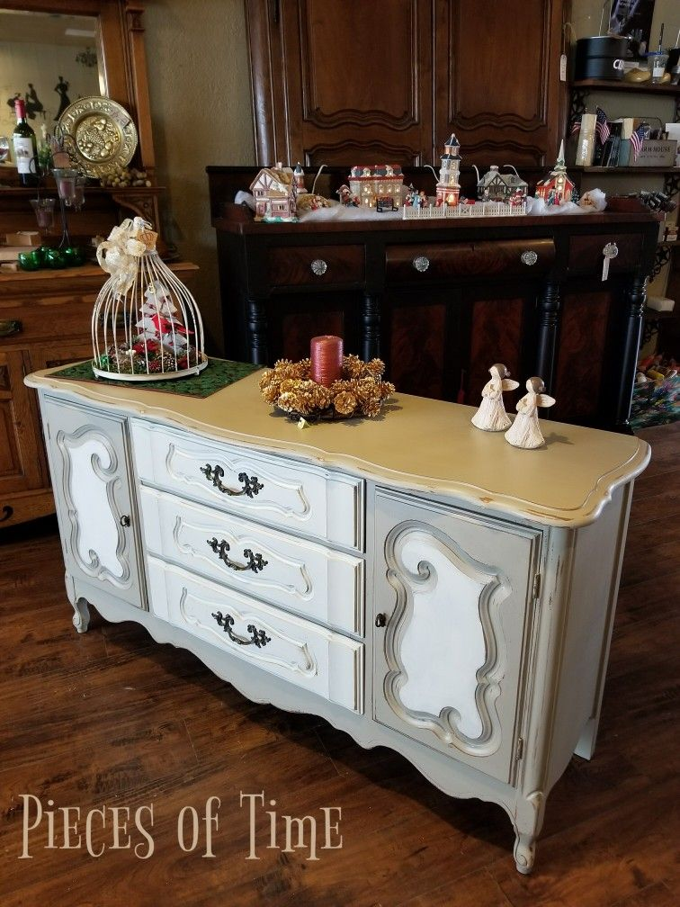 On the floor! 1960's French Provincial Buffet finished in