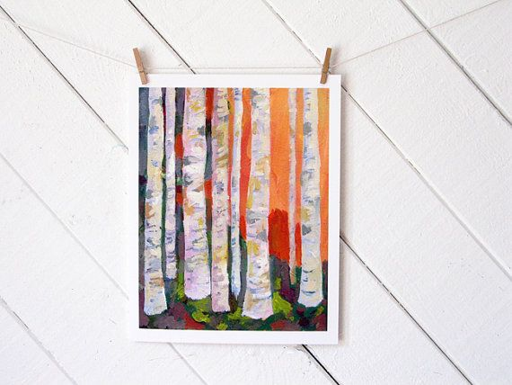 Birch Trees Archival 11 X 14 Inch Reproduction By Courtneyoquist