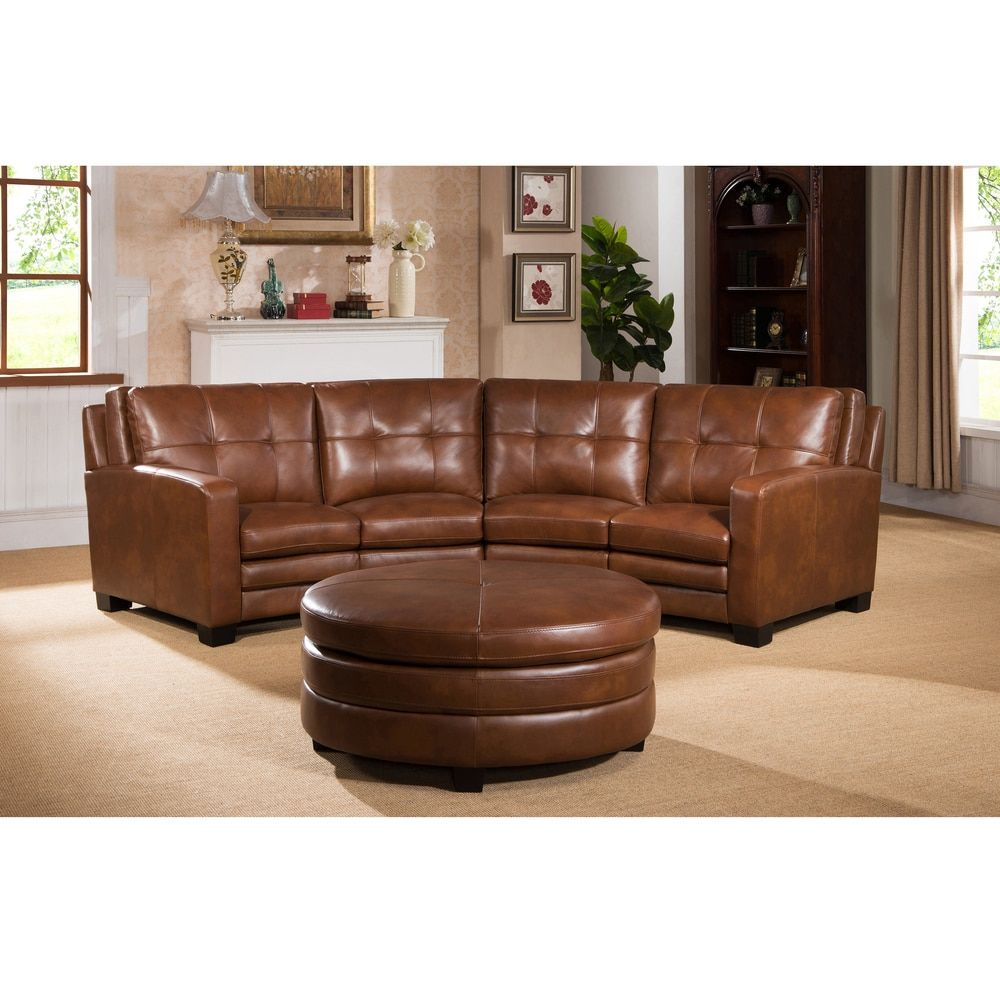 Oakbrook Brown Curved Top Grain Leather Sectional Sofa And Ottoman