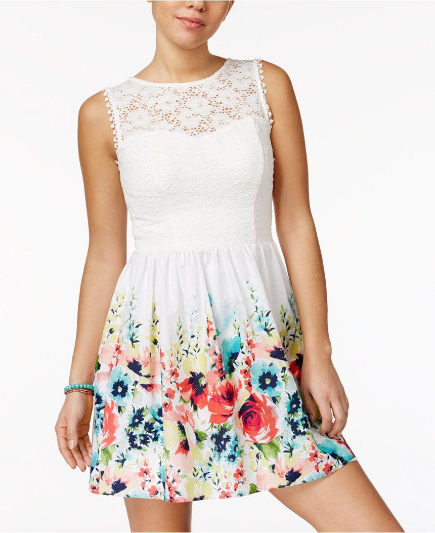 Speechless Juniors Illusion Lace Fit Flare Dress Juniors Dresses Macy S Short Dresses Casual Dresses Evening Dresses Short [ 1053 x 860 Pixel ]
