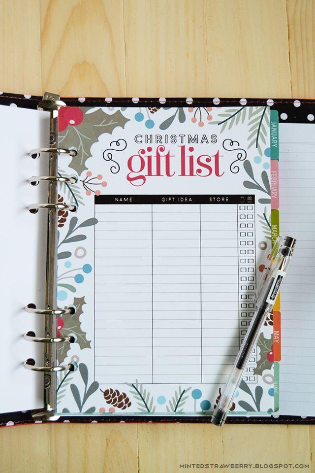 Free Printable Christmas Gift List Insert for A5 Planners Letter - free printable christmas lists