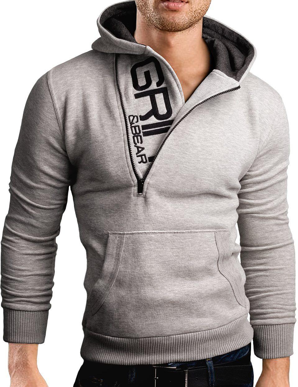 Grin Amp Bear Slim Fit Half Zip Hoodie Jacket Embroidered Sweatshirt Grey Melange M Gec401 Hooded Sweatshirt Men Stylish Hoodies Jackets Men Fashion [ 1246 x 959 Pixel ]