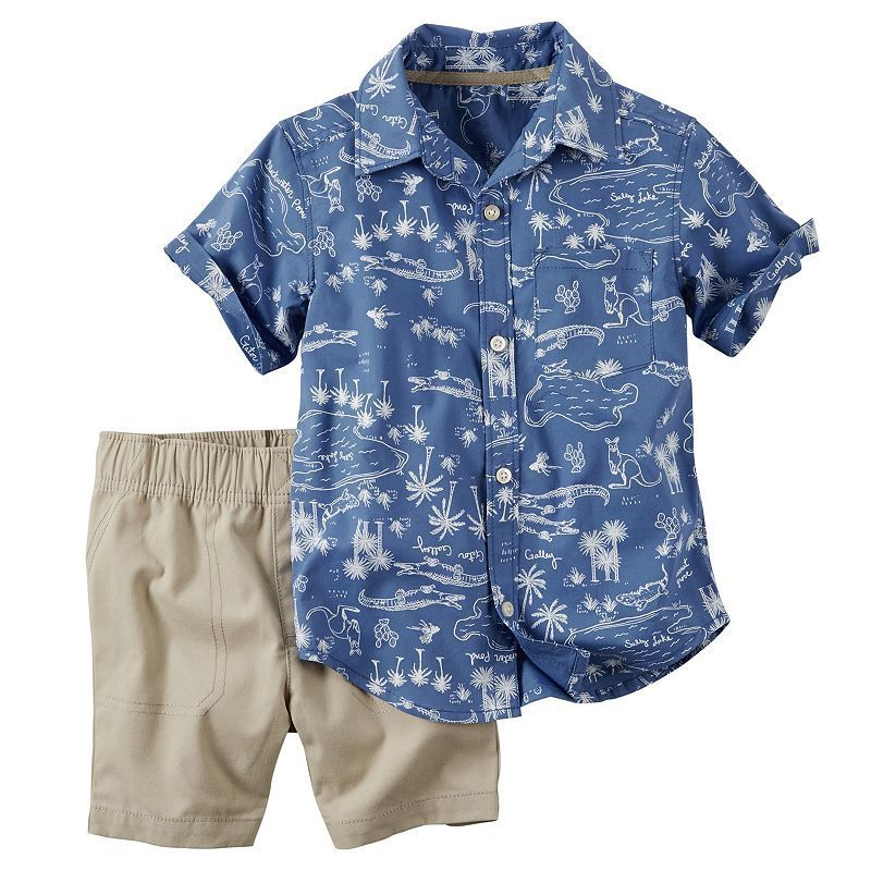 20cfcb300 Baby Boy Carter's Printed Short Sleeve Button-Down Shirt & Khaki Shorts  Set, Size: 3 Months, Blue