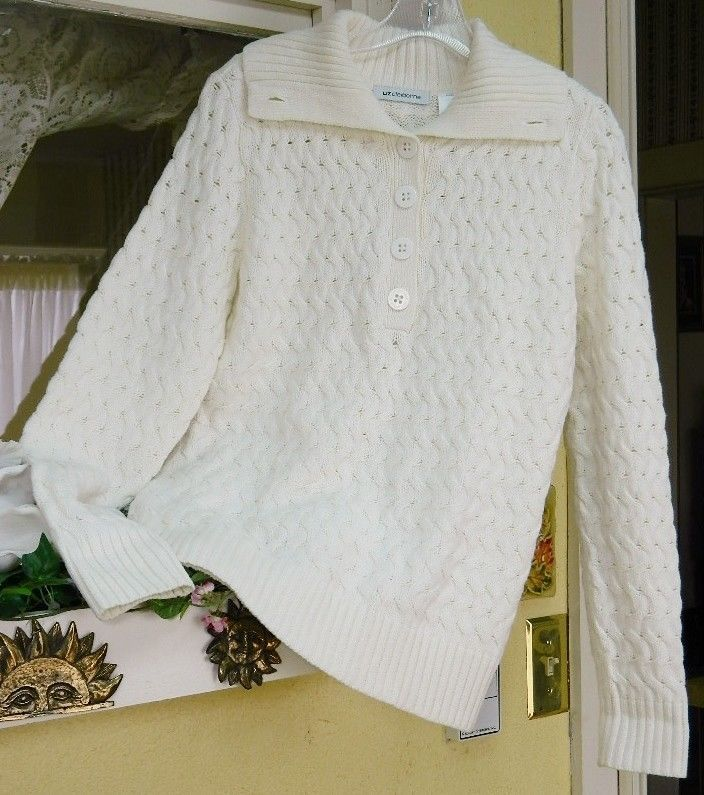 Liz Claiborne S Cable Knit Pullover Sweater S Winter White LN