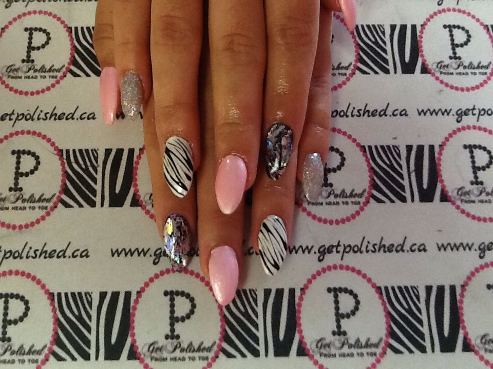 Get polished- pink and zebra nails with a foil design gel stiletto nails