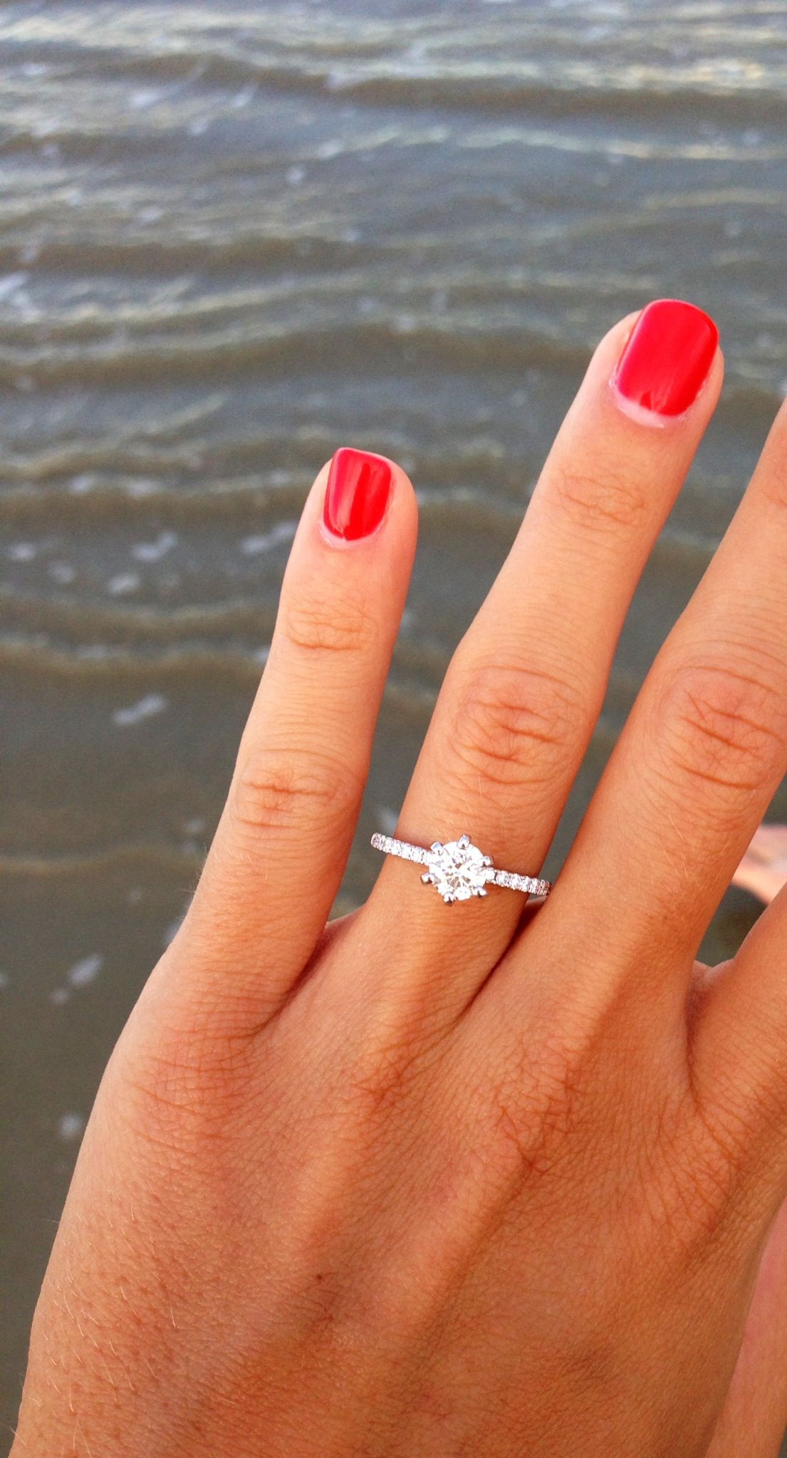 Round solitaire diamond with a thin pave diamond band | When I say I ...