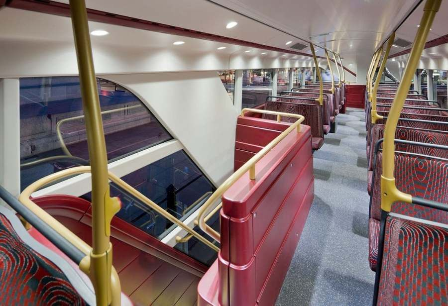 New London double-decker bus. Transport Bus Interior Red Concept ...