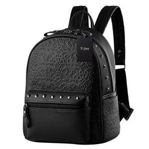 d96674c9401 YiJee Moda la Mochila de PU Cuero Bolsos para Mujer Bolsa de Viaje Mochilas  Tipo Casual Negro