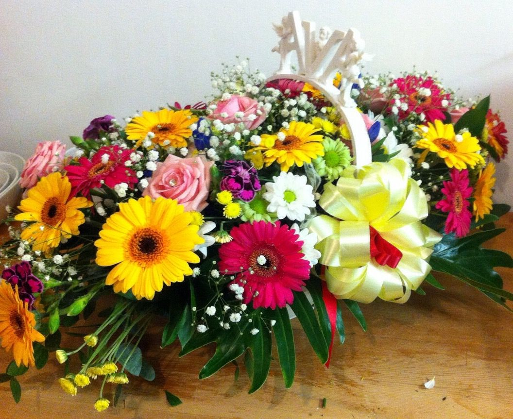 Personalised Funeral Basket Tribute With Pink And Yellow Gerberas