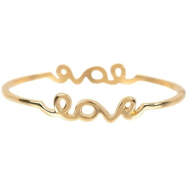 Armitage Avenue Love Bracelet (195 UYU) ❤ liked on Polyvore featuring jewelry, bracelets, accessories, gold, gold jewelry, gold bangles, gold tone bangles, yellow gold jewelry and gold jewellery