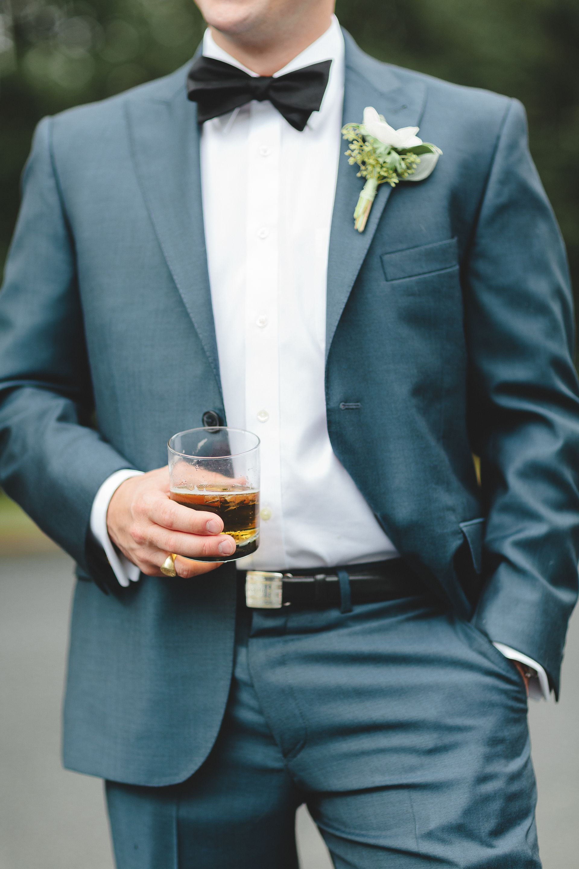 The Smarter Way to Wed | Teal suit, Black bow tie and Groom style
