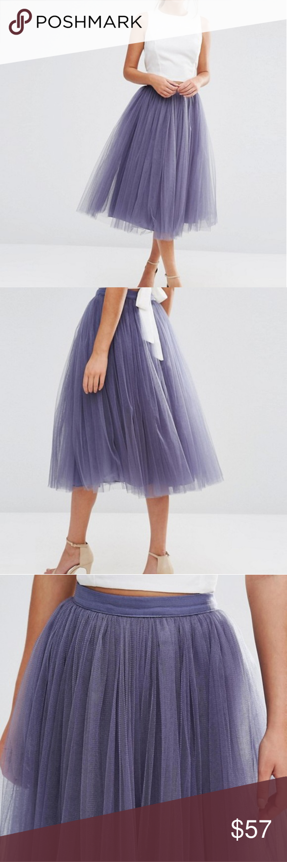 e3b0f68a39 Asos Little Mistress Tulle Midi Skirt Beautiful Asos tulle skirt!! Layers  of Lavender colored tulle make this skirt look like it belongs in a  fairytale. NWT ...