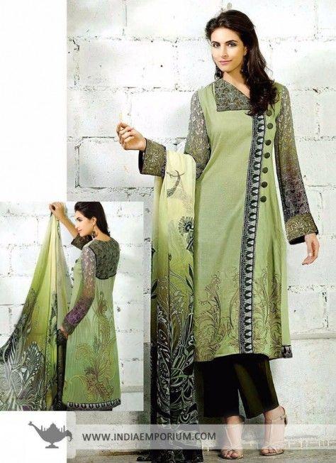 Elegant Green Cambric & Cotton Pant Suit #Pantsuit #Suit #Salwarkameez #Printed #Casualwear #Casual #Indiaemporium