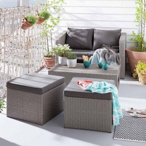 Great Loungem bel Garten OUTLIV Mainau Sofagruppe teilig Flachgeflecht Grau Kissen sand