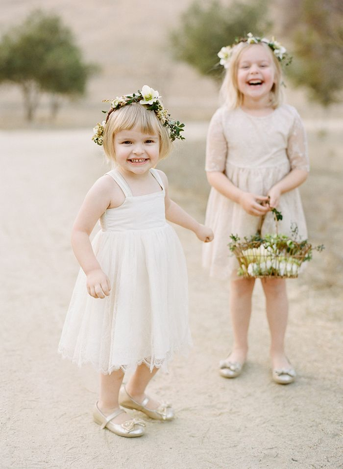 e720aafbd631 Sweet Flower Girls via oncewed.com #wedding #flowergirl #cream #white  #green #flowercrown